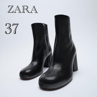 ZARA - ZARA ザラ ラウンドトゥレザーハイヒールショートブーツ 37