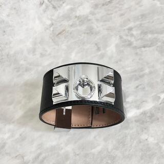 エルメス(Hermes)の正規品 エルメス ブレスレット コリエドシアン スタッズ レザー ブラック 銀(ブレスレット/バングル)