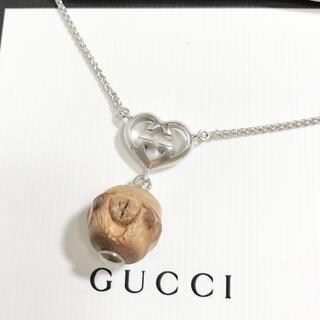 グッチ(Gucci)の正規品 グッチ ネックレス ハート バンブー ウッド シルバー GG 木 銀(ネックレス)