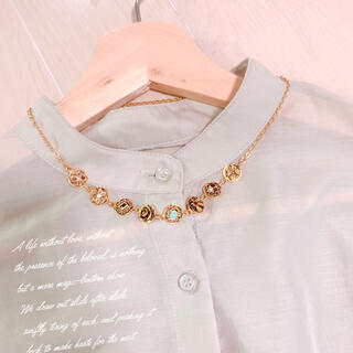 【vintage】8個チャーム ゴールド ネックレス 天然石 美品 ヴィンテージ