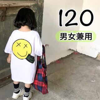 キッズ Tシャツ 白 120 韓国 子供服 ワンピース 男の子 女の子 半袖(Tシャツ/カットソー)