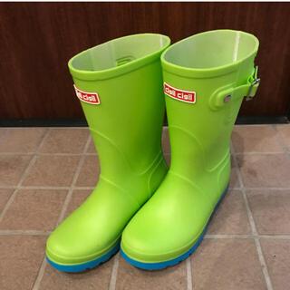 長靴 22cm イエローグリーン×ライトブルー