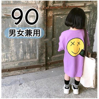 キッズ トップス 半袖 90 紫 韓国 子供服 男の子 女の子 ニコちゃん 春(Tシャツ/カットソー)