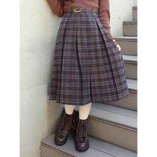 F i.n.t - チェーンビット使い起毛チェックプリーツスカート