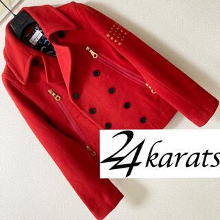 トゥエンティーフォーカラッツ(24karats)の24karats◆ハの字ジップ 袖星刺繍 ペイズリー ピ-コート Pコート 赤(ピーコート)