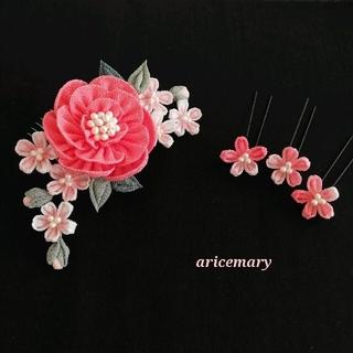 ピンクの牡丹と桜のつまみ細工髪飾り(ヘアアクセサリー)