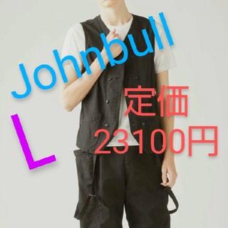 ジョンブル(JOHNBULL)のジョンブル コットン ベスト 新品 Lサイズ かっこいい メンズ 黒 (ベスト)