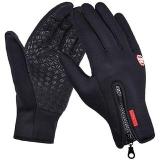 防寒 防風 防雨 バイク 自転車 タッチパネル グローブ 手袋 Mサイズ 黒