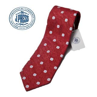 ジェイプレス(J.PRESS)の 《ジェイプレス》新品 ハンドメイド シルク100% 小紋柄ネクタイ 赤(ネクタイ)