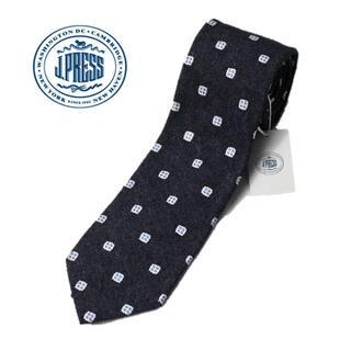 ジェイプレス(J.PRESS)の 《ジェイプレス》新品 ハンドメイド シルク100% 小紋柄ネクタイ 濃紺(ネクタイ)
