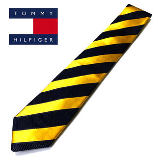 TOMMY HILFIGER - 【美品】TOMMY HILFIGER ネクタイ ストライプ柄 切り替え Y/BK