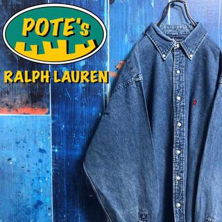 Ralph Lauren - 【ラルフローレン】ワンポイント刺繍ロゴビッグデニムシャツ 90s