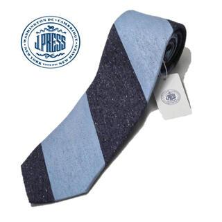 ジェイプレス(J.PRESS)の《Jジェイプレス》新品 シルク100% レジメンタル柄ネクタイ 紺 青(ネクタイ)