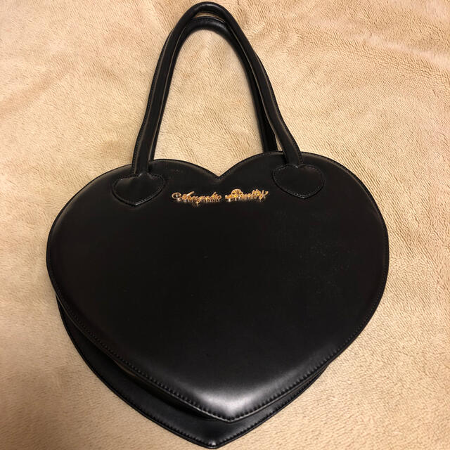 Angelic Pretty(アンジェリックプリティー)の Love HeartロゴBag 黒 レディースのバッグ(ハンドバッグ)の商品写真