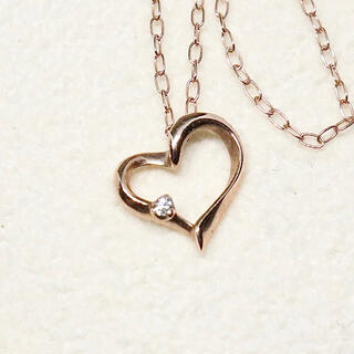 ハート ダイヤ ネックレス K10(ネックレス)