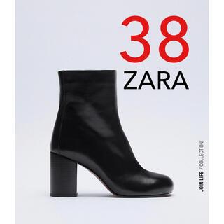 ZARA - ZARA 新品 ラウンドトゥレザーハイヒールショートブーツ 38