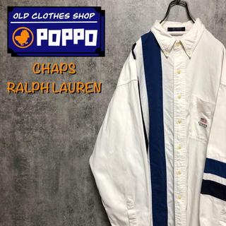 Ralph Lauren - チャップスラルフローレン☆星条旗刺繍ロゴ入りビッグラインシャツ 90s