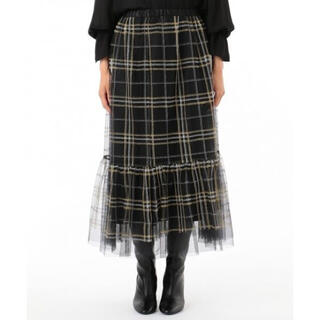 GRACE CONTINENTAL - 美品!チェック刺繍チュールスカート グレースコンチネンタル