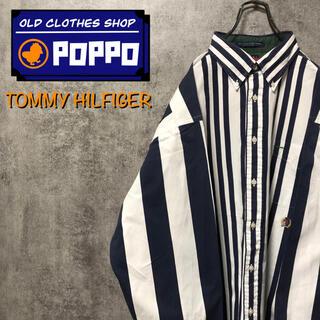 TOMMY HILFIGER - トミーヒルフィガー☆オールド刺繍ロゴ切替マルチストライプシャツ 90s