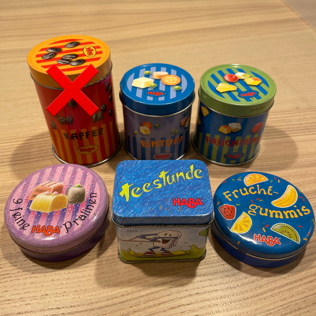 Haba Erzi おままごと 缶 キッズ/ベビー/マタニティのおもちゃ(知育玩具)の商品写真