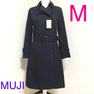 MUJI (無印良品) - 新品 無印良品 撥水綿混トレンチコート レディースM   ネイビー