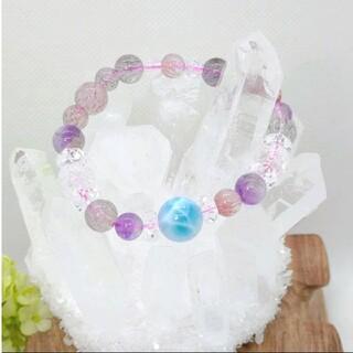 天然石ブレスレット 高品質ラリマーSA 、スーパーセブン、水晶