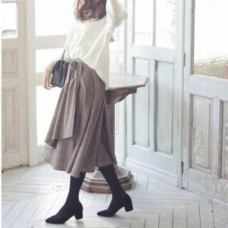 INGNI - 新品 INGNI サッシュ付 グレンチェックラッフルミディスカート ブラウン M