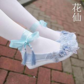 ローカット 花刺繍フラット 痛くない 柔らかい (衣装一式)