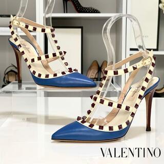 VALENTINO - 2084 ヴァレンティノ ロックスタッズ アンクルストラップ パンプス ブルー