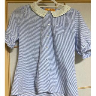 フィント(F i.n.t)のFi.n.t スカラップ刺繍襟ストライプブラウス(シャツ/ブラウス(半袖/袖なし))