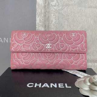 CHANEL - 美品✨シャネル カメリア 二つ折り長財布