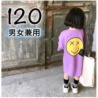 韓国 子供服 トップス 半袖 120 紫 ワンピース ダンスキッズ Tシャツ(Tシャツ/カットソー)