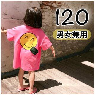 韓国 子供服 男女兼用 120 トップス 大きめ 半袖 Tシャツ ピンク 女の子(Tシャツ/カットソー)