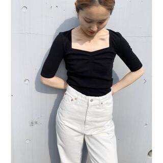 エディットフォールル(EDIT.FOR LULU)のバレエネック リブプルオーバー ブラック(Tシャツ(半袖/袖なし))