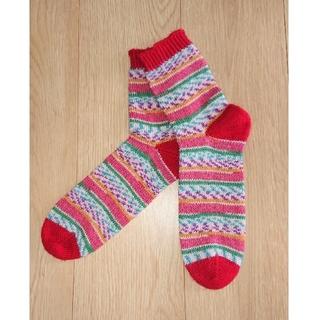 ハンドメイド手編み靴下22~24cm