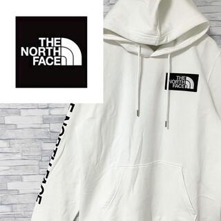 THE NORTH FACE - 【良デザイン】ノースフェイス パーカー デカバックロゴ 袖ロゴ ゆるダボ 白XL