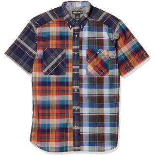 マーモット(MARMOT)のMarmot マーモット シーエルプラッドハーフスリーブシャツ紺橙 メンズM新品(シャツ)