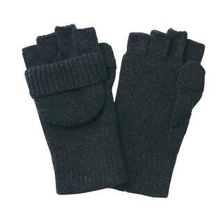 MUJI (無印良品) - 残り1点新品 無印良品 ウール混半指フード付き 手袋 フリーサイズ・ダークグレー