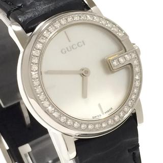 Gucci - 8.超美品 グッチ GUCCI 時計 101 47P ダイヤモンド クロコ革
