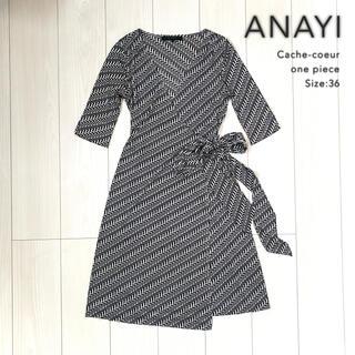 ANAYI - ANAYI◆ヘリンボーン 柄 カシュクール ワンピース 五分袖 ブラック 美品