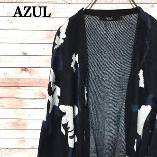 アズールバイマウジー(AZUL by moussy)のAZUL アズール カーディガン   柄 ロング レディース 古着 930(カーディガン)