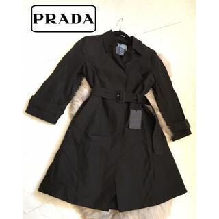 プラダ(PRADA)の新品♡PRADA  シルク100% トレンチコート ブラック 黒 オシャレ(トレンチコート)