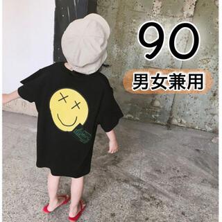 キッズ 半袖 トップス 90 黒 ニコちゃん 韓国 子供服 男の子 女の子 春夏(Tシャツ/カットソー)