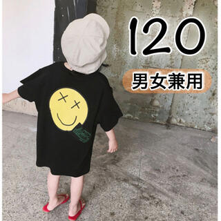 ニコちゃん Tシャツ 半袖 トップス 黒 120 ワンピース ダンス 子供服(Tシャツ/カットソー)