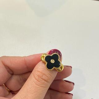 可愛いデザイン フラワー イエローゴールド リング 指輪