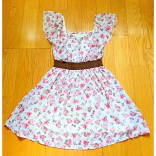 【花柄ワンピース】 ワンピース スカート ピンク 白 Mフリル 可愛い お洒落