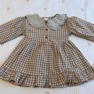 韓国子供服 フリル襟 ギンガムチェック ワンピース