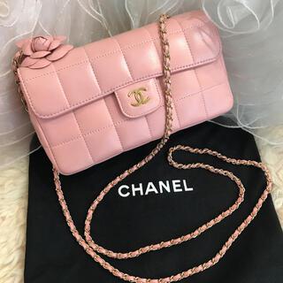CHANEL - ☆美品☆CHANEL カメリア付き チョコバー チェーンショルダー ピンク
