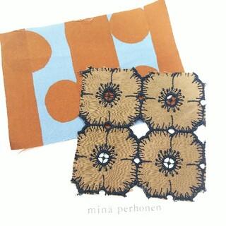 mina perhonen - ミナペルホネン はぎれ ブラウン anemoneと水玉セット