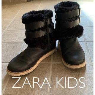 ザラキッズ(ZARA KIDS)のZARA KIDS ショートファーブーツ 22.5cm ブラック(ブーツ)